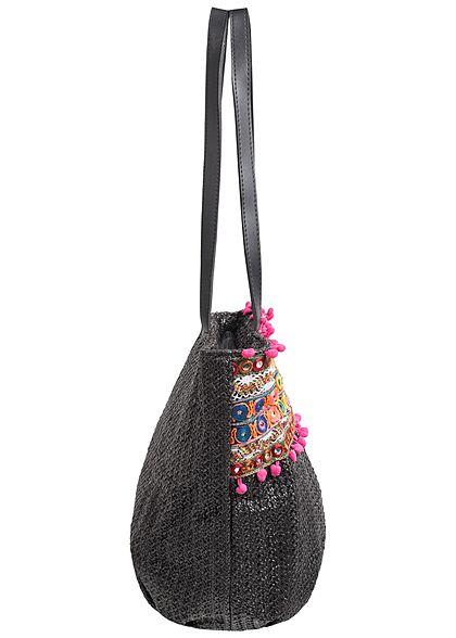 Styleboom Fashion Damen Handtasche bunte Patches Höhe: 29cm Breite: 44cm schwarz