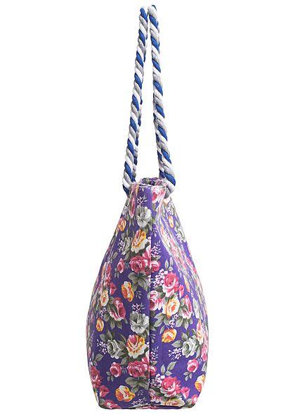 Styleboom Fashion Damen Shopper Blumen Muster Höhe: 35cm Breite: 57cm lila