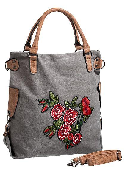 e5a44a10d27613 Styleboom Fashion Damen Handtasche Blumen Patch Höhe  46cm Breite  45cm grau  rot - 77onlineshop
