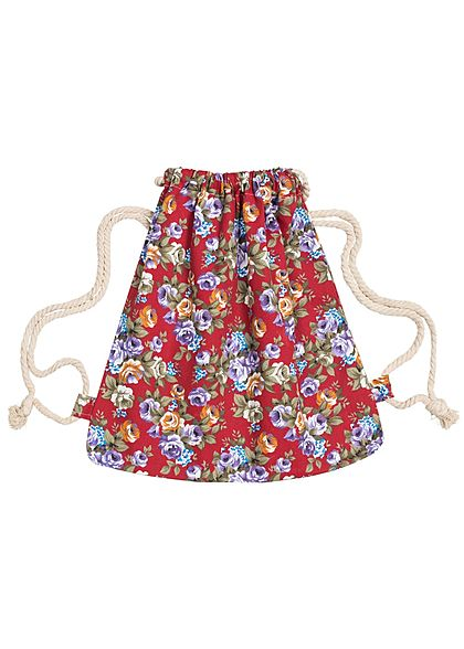 Styleboom Fashion Damen Turnbeutel Blumen Muster Rot Lila Weiss
