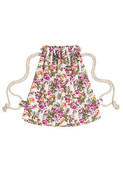42bb0487ebedc Styleboom Fashion Damen Turnbeutel Blumen Muster weiss pink grün -  77onlineshop