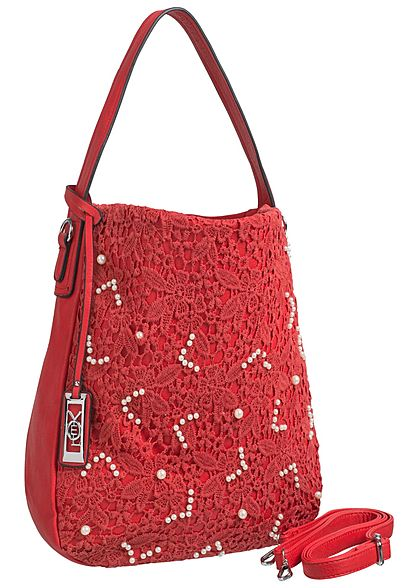c5004c80868cc Styleboom Fashion Damen Handtasche Breite  42cm Höhe  37cm Dekoperlen rot -  77onlineshop