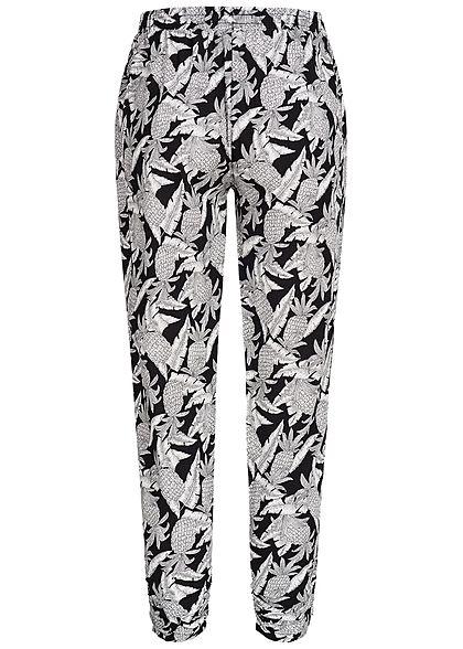 Seventyseven Lifestyle Damen Sommer Hose Ananas Muster 2 Taschen schwarz weiss
