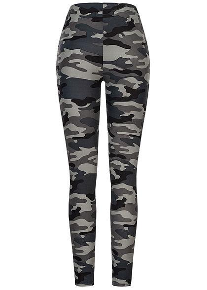 Urban Classics Damen Camouflage Leggings dunkel grau schwarz camouflage