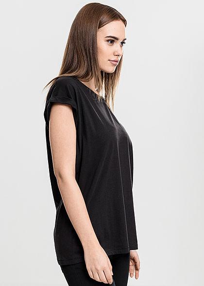 Urban Classics Damen T-Shirt mit breiten Schultern schwarz