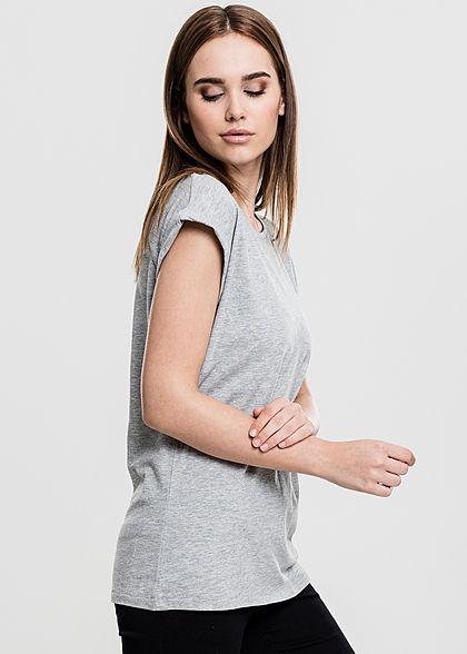 Urban Classics Damen T-Shirt mit breiten Schultern grau