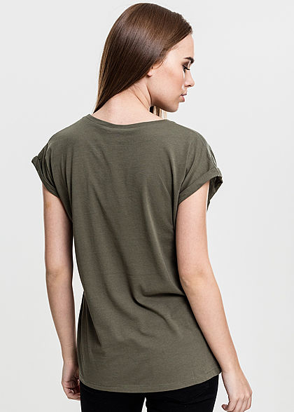 Urban Classics Damen T-Shirt mit breiten Schultern olive grün