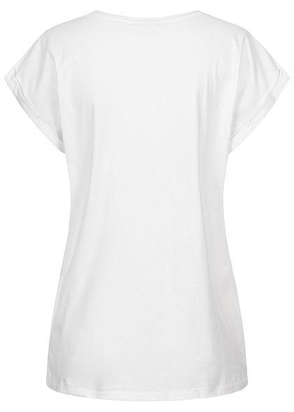 Urban Classics Damen T-Shirt mit breiten Schultern weiss