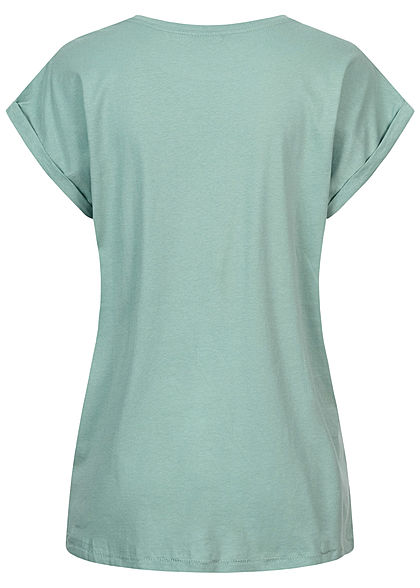 Urban Classics Damen T-Shirt mit breiten Schultern mint türkis