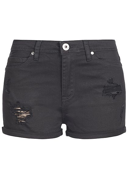 Hailys Damen Shorts Destroy Look Beinumschlag schwarz