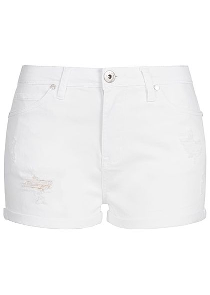 Hailys Damen Shorts Destroy Look Beinumschlag weiss