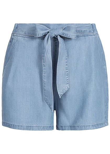 Hailys Damen Paper-Bag Shorts im Jeans Look 2 Taschen medium blau denim