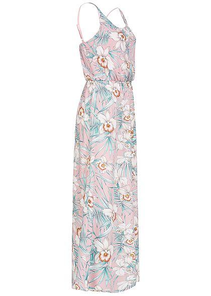 Seventyseven Lifestyle Damen Longform Kleid Blumen Print Spaghettiträger rosa weiss
