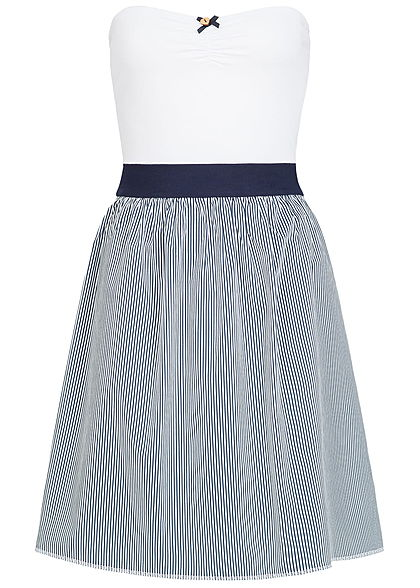 Kleid weiss Damen Streifen Lifestyle Seventyseven Muster Bandeau jc345qLRA