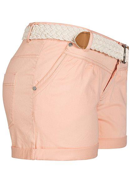 Seventyseven Lifestyle Damen Shorts 4-Pockets inkl. Gürtel rosa