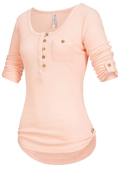 Seventyseven Lifestyle Damen Turn-Up Longsleeve Brusttasche rosa
