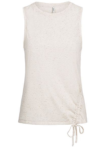 ONLY Damen Tank Top Bindedetail seitlich oatmeal beige melange