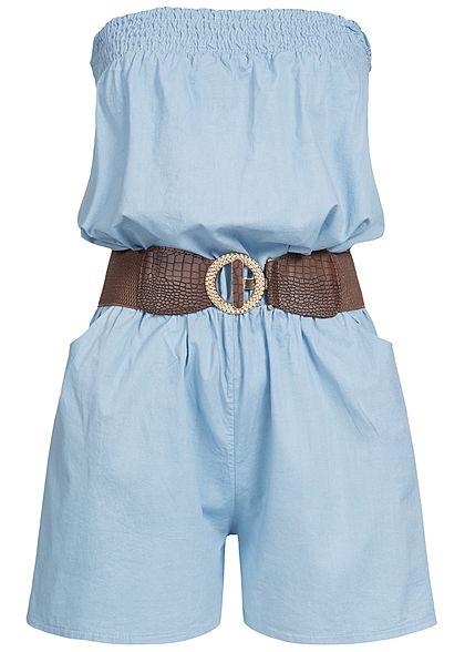 Styleboom Fashion Damen Denim Bandeau Jumpsuit 2 Taschen inkl. Gürtel hell  blau denim - 77onlineshop 9f5313f426