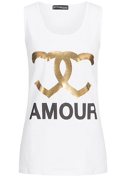 Styleboom Fashion Damen Tank Top Amour Frontprint weiss gold