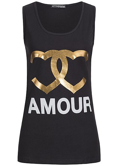 Styleboom Fashion Damen Tank Top Amour Frontprint schwarz gold