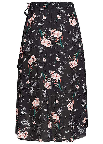 Styleboom Fashion Damen Wickelrock Blumen & Sterne schwarz rosa weiss