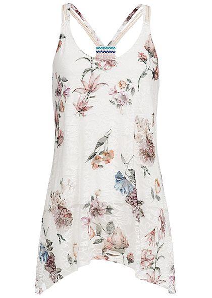 Styleboom Fashion Damen Top Spitze Blumen Muster 2-lagig weiss ...