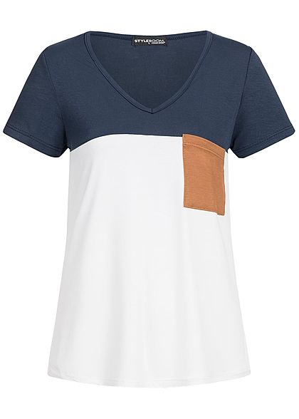 Styleboom Fashion Damen T-Shirt Brusttasche navy blau weiss braun