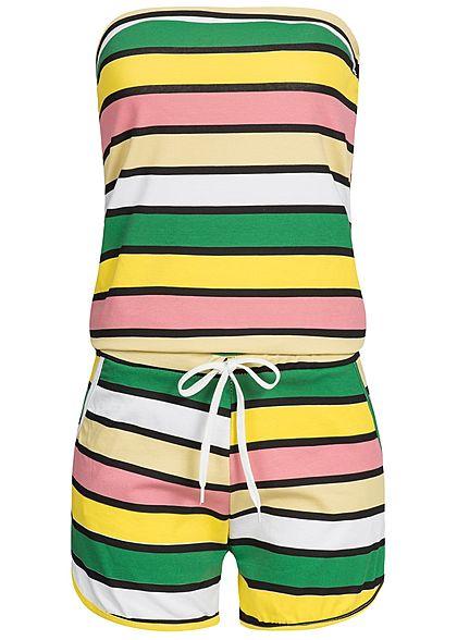 Styleboom Fashion Damen Bandeau Jumpsuit 2 Taschen gelb multicolor -  77onlineshop b297eb1434