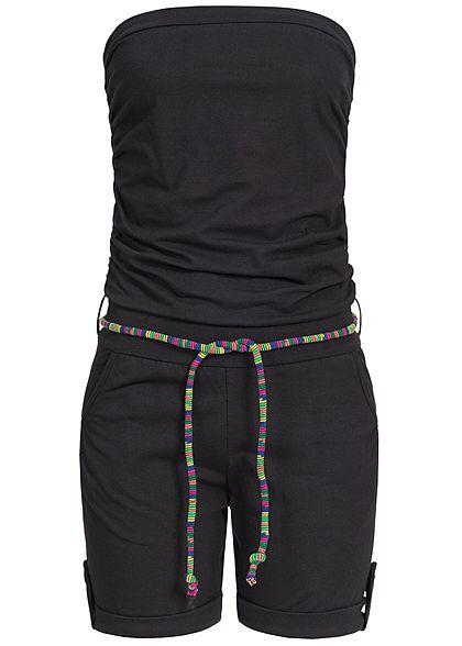 Styleboom Fashion Damen Bandeau Jumpsuit 2 Taschen farbiger Bindegürtel  schwarz - 77onlineshop 8a015f9c24