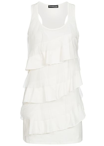 Styleboom Fashion Damen Volant Top mit Passe weiss