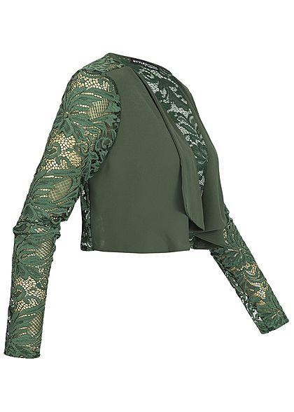 Styleboom Fashion Damen Chiffon Bolero Spitze military grün