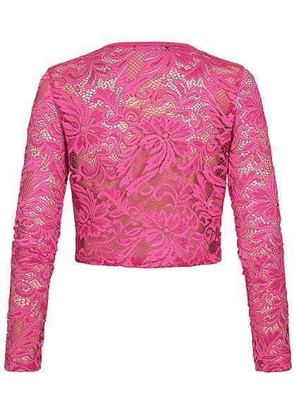 Styleboom Fashion Damen Chiffon Bolero Spitze fuchsia pink