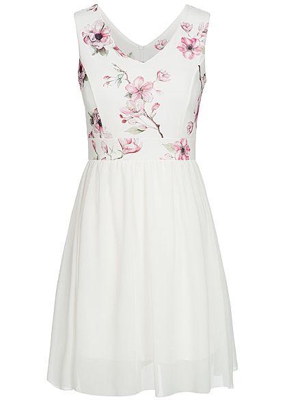 4c6d2896afd320 Styleboom Fashion Damen Kleid Blumen Print Brustpads 2-lagig weiss rosa -  77onlineshop