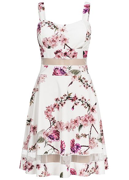 Styleboom Fashion Damen Mini Kleid Blumen Print Brustpads Mesh Detail weiss rosa