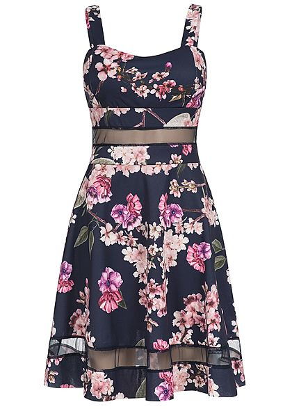Styleboom Fashion Damen Mini Kleid Blumen Print Brustpads Mesh Detail navy blau rosa