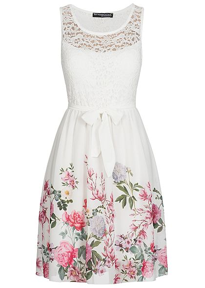 Styleboom Fashion Damen Kleid Spitze Brustpads Blumen Print weiss ...