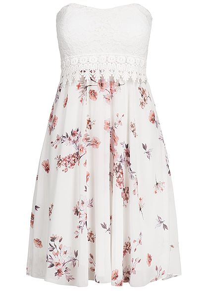 Styleboom Fashion Damen Bandeau Kleid Blumen Muster Brustpads Spitze ...