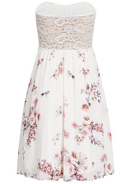 Styleboom Fashion Damen Bandeau Kleid Blumen Muster Brustpads Spitze weiss rosa