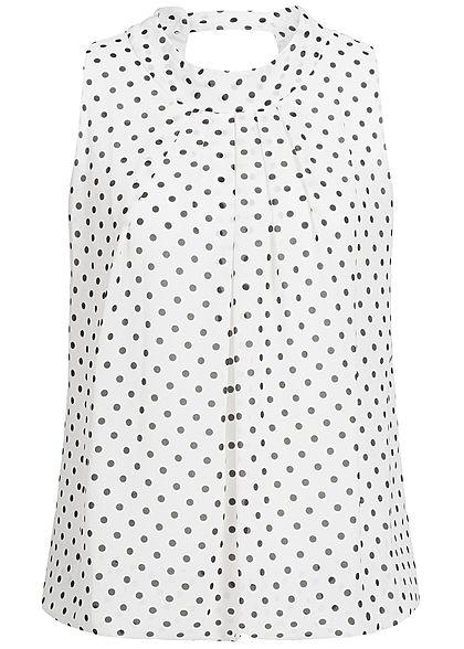 6b36932ba37e18 Styleboom Fashion Damen Chiffon Top Punkte Muster weiss schwarz -  77onlineshop