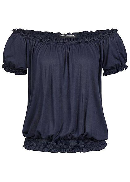 be737daf0155fd Styleboom Fashion Damen Carmen Shirt Rüschen navy blau - 77onlineshop