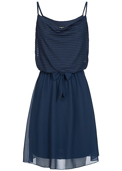 Styleboom Fashion Damen Mini Kleid 2-lagig Bindegürtel navy blau