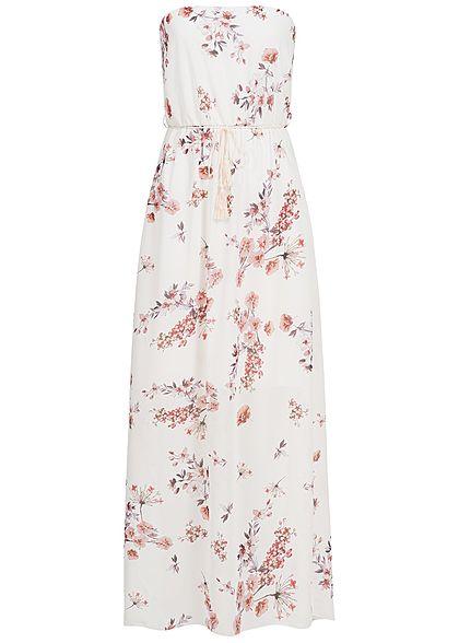 Styleboom Fashion Damen Bandeau Longform Kleid Blumen Muster weiss ...