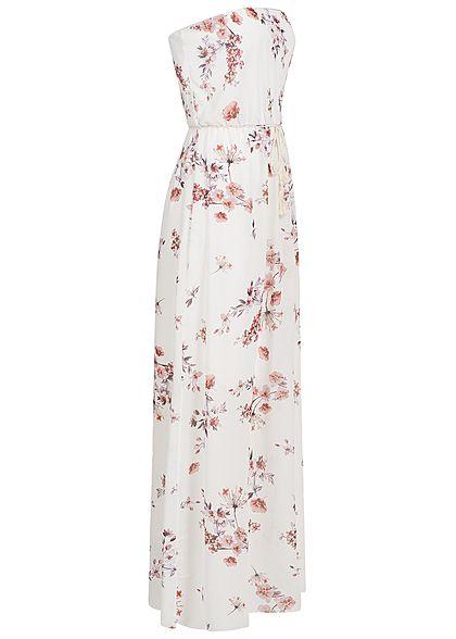 Styleboom Fashion Damen Bandeau Longform Kleid Blumen Muster weiss rosa