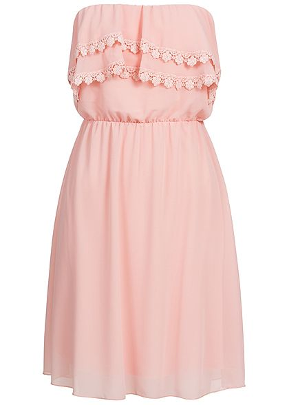 Styleboom Fashion Damen Mini Bandeau Kleid Frill 2-lagig rosa