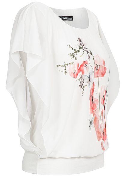 Styleboom Fashion Damen Chiffon Top mit Fledermaus- Ärmel Blumen Print weiss rosa