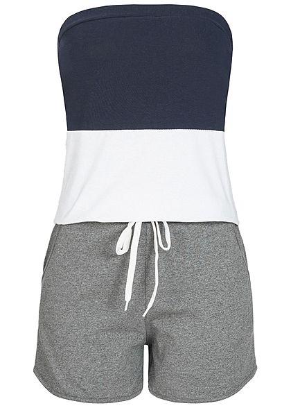 Styleboom Fashion Damen Bandeau Jumpsuit 2 Taschen navy blau weiss grau -  77onlineshop 7849f85aec