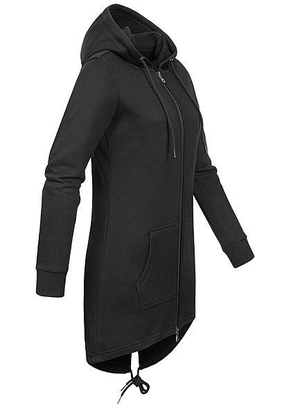 Urban Classics Damen Sweat Zip Hoodie Parka Kapuze 2 Taschen schwarz