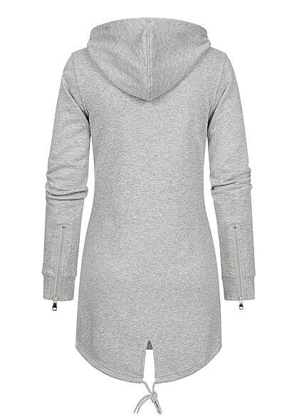 Urban Classics Damen Sweat Zip Hoodie Parka Kapuze 2 Taschen hell grau