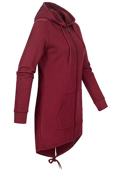 Urban Classics Damen Sweat Zip Hoodie Parka Kapuze 2 Taschen burgundy bordeaux rot