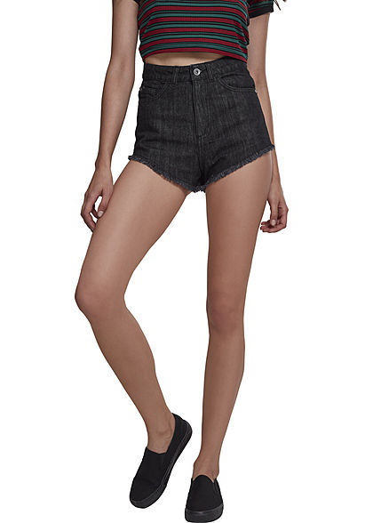Seventyseven LifestyleTB Damen Shorts 5-Pockets Fransen schwarz washed denim